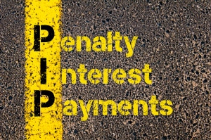 Concept image of Accounting Business Acronym PIP Penalty Interest Payments written over road marking yellow paint line.