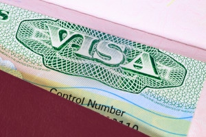 US visa in a passport macro