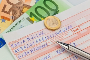 a number schin for transfer or cash payment with iban and bic code from austria.